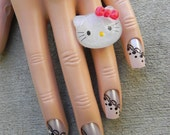 Hello Kitty Adjustable Ring / Red Bow White Glitter Hello Kitty Face
