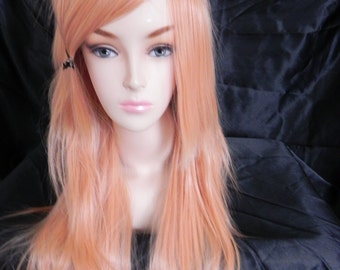 ON SALE // Peach Blonde / Long Straight Layered Wig Halloween Costumes, Adult Costume, Cosplay, Durable for daily use