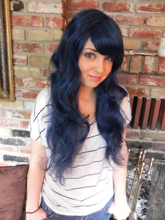 Age Old Tale / Black Blue Blended / Long Curly Layered Wig