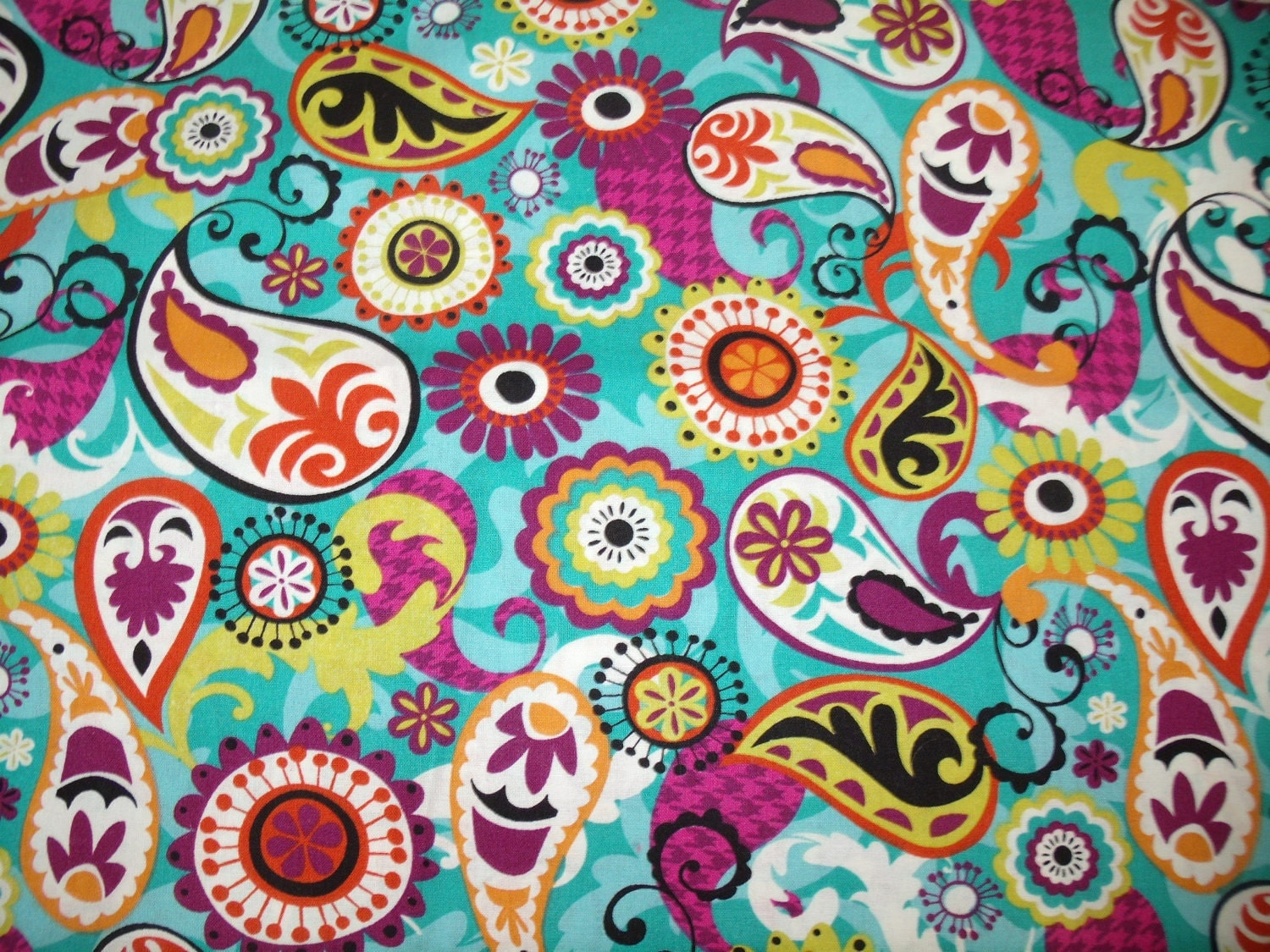 Retro paisley print fabric by the yard by klassybabyboutique for Unique childrens fabric