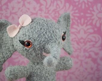 Ellie the Elephant, OOAK Felted Amigurumi, Baby Alpaca Wool, Pink and Gray Baby Nursery, Handmade
