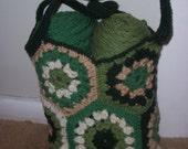 Granny square market bag (shades of green and tan)