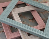 TREASURY ITEM...3 Vintage Frames in Sweet Pastels...Sky Blue, White & French Pink...Nursery...Cottage Chic...Shabby Chic...Baby's Room