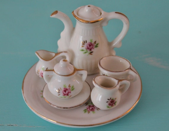 Miniature Doll's Tea Set...Vintage...Pink Roses...Dolls' Tea Party...Toy Tea Set...Made in Taiwan...Cottage Chic
