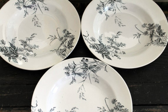 RESERVED...3 Antique Soup Plates...Ashworth Bros...Made in England...Staffordshire...Ironstone...Black on White...1800s