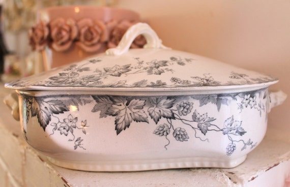 Antique Johnson Bros Covered Serving Dish...Hop Pattern...Circa 1900...Black on White Transferware...Semi-Porcelain...Made in England