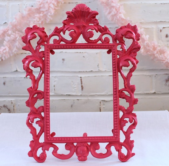 Ornate Metal Frame...Upcycled in Fabulous Glossy Watermelon...Vintage...Bright Pink