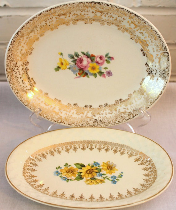 RESERVED...Two Sweet Oval Plates...Cottage Chic...Floral...Taylor Smith & Taylor...Mismatched Plates...Made in USA