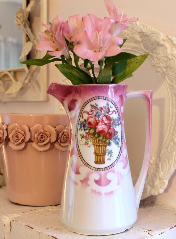 Vintage Chocolate Pot with Pink Roses...Made in Germany...Lustreware...No Lid