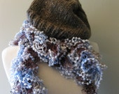 Blue and Brown Vivaciously Chic Lacy Ruffly Scarf