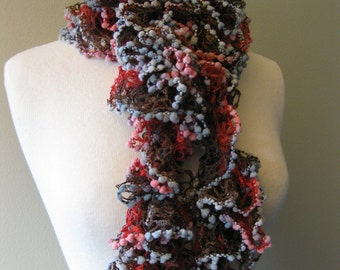 Crimson Red and Brown Lacy Vivacious Scarf