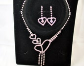 "FREE SHIPPING   valentines  Jewelry  Bride Bridal Vintage ""Style"" Old Hollywood Glamour  Pink Hearts Rhinestone Necklace & Earnings Set"