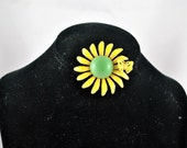 FREE SHIPPING Summer Jewelry Hippie Boho 1960 Retro Upcycled  Vintage Metal Yellow Toned w Butterfly Flower Brooch / Pin Jewelry Colors