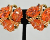 FREE SHIPPING 1950's 1950s Orange Thermoset Enamel Clip Earrings Spring Colors