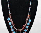 FREE SHIPPING Blue Color Bohemian Jewelry Autumn Fall Hippie Boho  1960's 1960s Blue and Turquoise Glass Bead Upcycled Repurposed Necklace