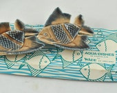 FREE SHIPPING Summer Decor Beach  1960's 1960s Made in Ireland in Original Box Pair of Wade Aqua Dishes Collectors Collectible