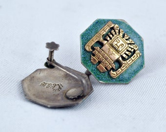 FREE SHIPPING Ethnic Retro Golden Unique 1940's 1940s Vintage peru  Sterling  Silver 18k  Gold  Green Screw back Screwback earrings Peru