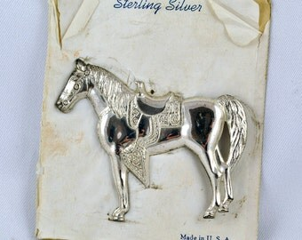 FREE SHIPPING Jewelry Gifts Unique Vintage  Antique Retro cow girl rustic   Sterling Silver Horse Brooch / Pin