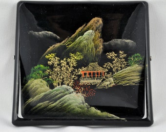 FREE SHIPPING vintage Smoking mid century   1950s Japanese Lacquer Cigarette Box Hand Painted Asian Oriental Bamboo Mountains Unique Style