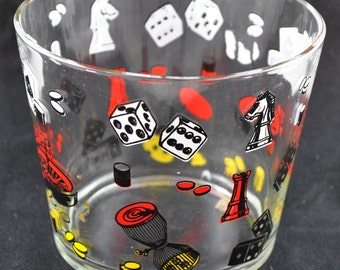 FREE SHIPPING Vegas Man Antiques Glassware Home Decor Christmas  Gift  1950's 1950s Vintage Barware Fathers Day Ice Bucket Casino Theme