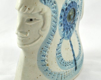 FREE SHIPPING Blue  Spring Easter Retro Mad Men Decor Artist Pottery  1950' 1950s Mid Century  summer handdone pottery face  vase