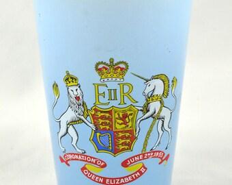 FREE SHIPPING 1950's 1950s Tall Light Blue Tumbler Coronation Queen Elizabeth II Glass Glassware Souvenir Collectible