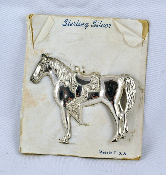 FREE SHIPPING Summer Jewelry Gifts Unique Vintage  Antique Retro Upcycled  Sterling Silver Horse Brooch / Pin