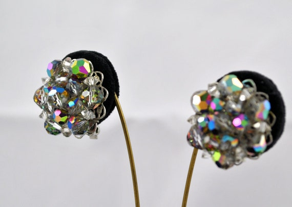 FREE SHIPPING Summer Wedding Gifts  Jewelry  1940s  Hollywood Glamour  Vintage Antique Mad Men Aurora Borealis Multi Colored Clip Earrings