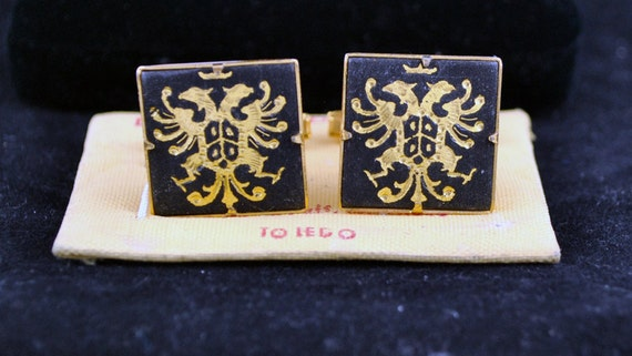 FREE SHIPPING  1940's 1940s Vintage Spanish Jewelry Fashion Accessories Unique Style Gifts Spring Made in Toledo Cuff Link Black and Gold