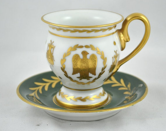 FREE SHIPPING  1940s FRENCH  Limoges France Gilded Napoleon Regal Bumble Bee Eagle Jubilee  Tea Cup and Saucer Home Decor Antique Tea Party