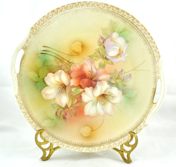 FREE SHIPPING Bridal Gift 1940s Hand Painted  Floral R & S Germany Porcelain Floral Cabinet Collectors Dessert Serving Plate Home Decor