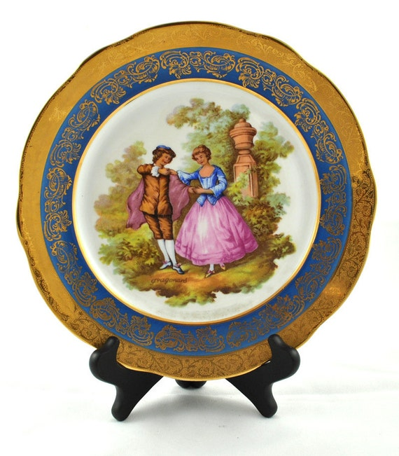 FREE SHIPPING 1950's 1950s Limoges Made in France Salon Scene Gilded Signed Collector Plate Cabinet Plate