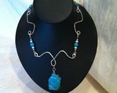 Hand Hammered Sterling Silver and Turquoise Necklace with Beading