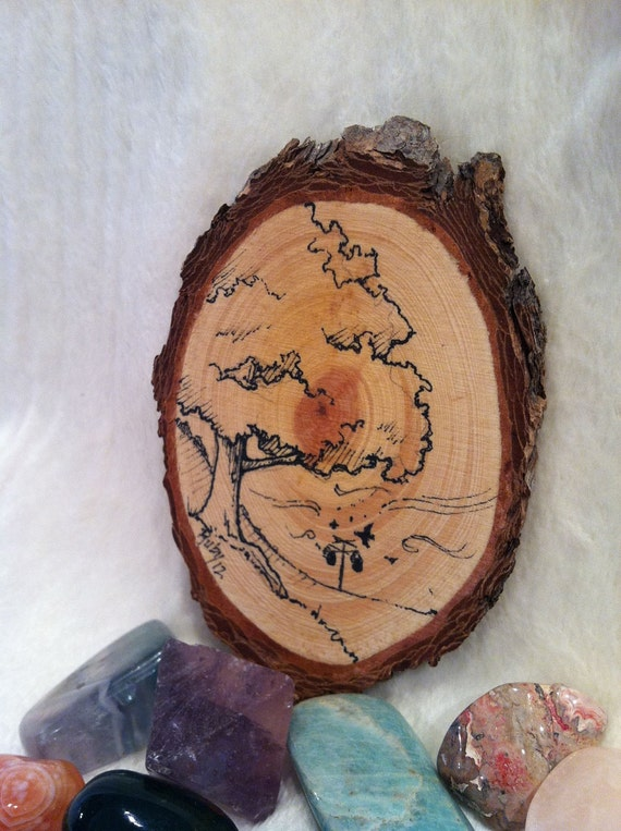 Pen and Ink Drawing of Tree and Purple Martin House on Wood