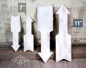 "Retro Wooden Arrow - 11"" Rustic White Version"