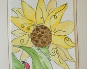 "Card "" Lady Bug With Sunflower""  Watercolor Original Art Blank With Envelope betrueoriginals"