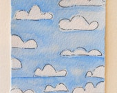"Card ""Blue Skies From Now On"" Original Art  Blank With Envelope betrueoriginals"