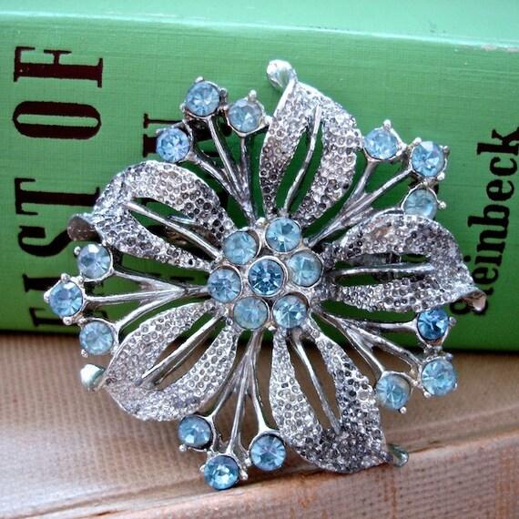 Vintage Rhinestone Blue Flower Brooch Pin