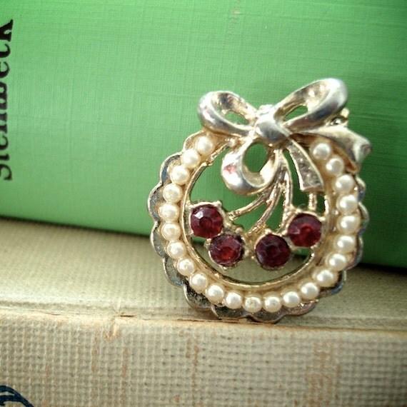 Vintage Cherry Rhinestone Brooch Pin