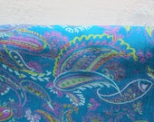 RESERVED......Silky Turquoise Paisley Fabric, Over 3 Yards