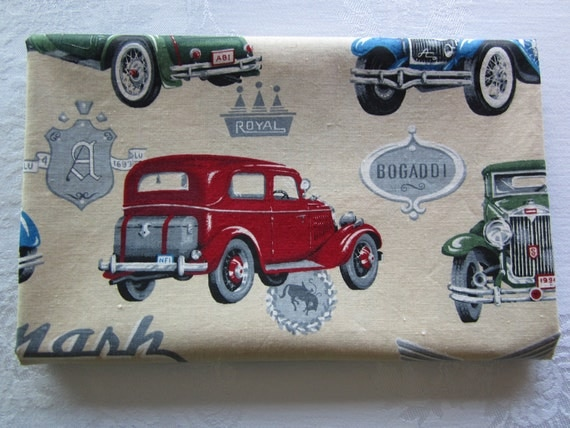 Vroom Vroom.....Classic Automobiles on Beige Fabric