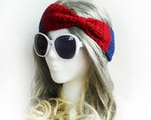 Girls Crochet Headband American Flag colors Faux Bow Earwarmer Navy Blue Dark Red Bow Back to School