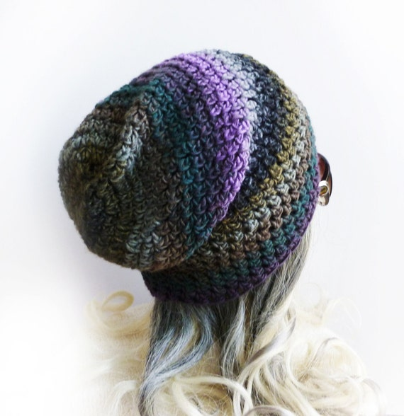 "Slouchy beanie Gaming hat Under headset ""Ninja"" Gray Purple Brown Green stripes Soft Thin Crochet hat Mens Womens Gamer"
