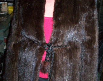 Ribbed MINK jacket, dark brown  REDUCED