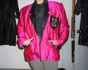Silk Leather Vintage Jacket by Jacqueline Hancher---price reduced---