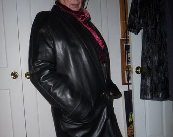 Black leather coat  genuine leather REDUCED