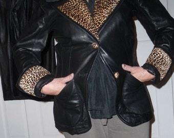 Leather jacket with animal print collar and cuffs REDUCEDx2