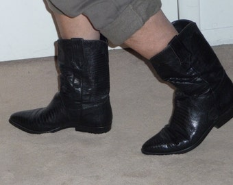 Cowboy boots in black lizard look made in France---price reduced---