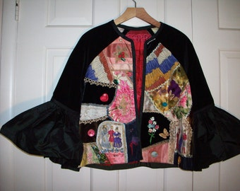 Couture tapistry collage 60s jacket with ruffled sleeves REDUCED