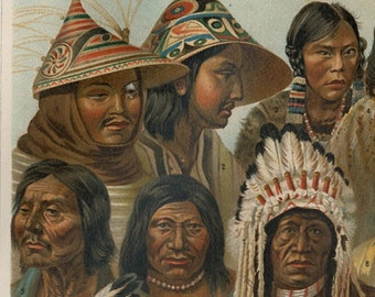 Native Americans print American Indians peoples print Inuit print ethnic tribes Crow Indians  : Antique 1890s chromolithograph old bookplate